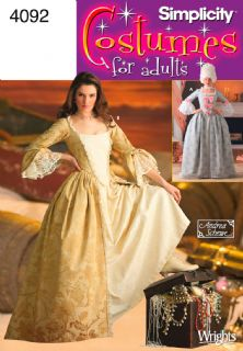 4092 Simplicity Pattern: Misses' 18th Century Costume Gowns